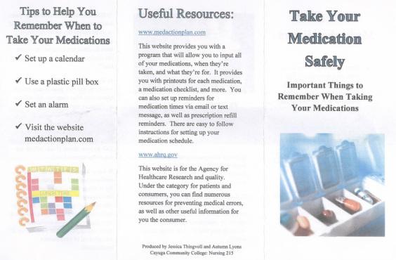 Create Nursing Resume Certified Nursing Assistant Resume Sample Medication Safety Brochure Jessica Thingvoll