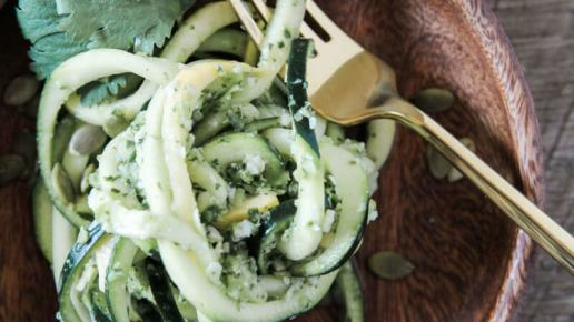 Spiralized Squash Salad with Pepper Pesto
