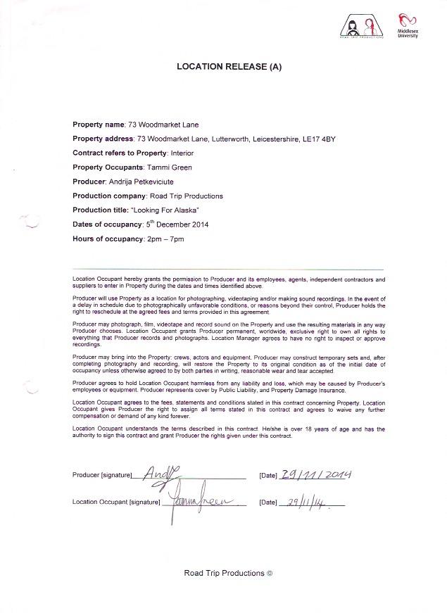 MDA2900 Book Trailer Director\u0027s Paperwork Jess Pardoe - Actor Release Forms