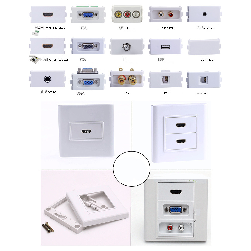 Hdmi Outlet Hdmi To Terminal Block Faceplate Wall Outlet Socket Panels Plate