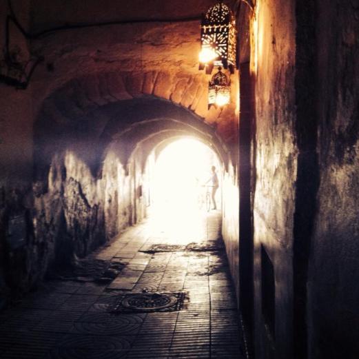 lamp-lit passage, Essaouira, Morocco