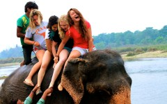 Me with 3 other volunteers in Chitwan National Park, Nepal