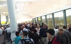 TSA waiting in line at airport