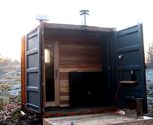 Houses Made Of Wood And Light Jetson Green - Shipping Container Inspired Sauna Is Prefab