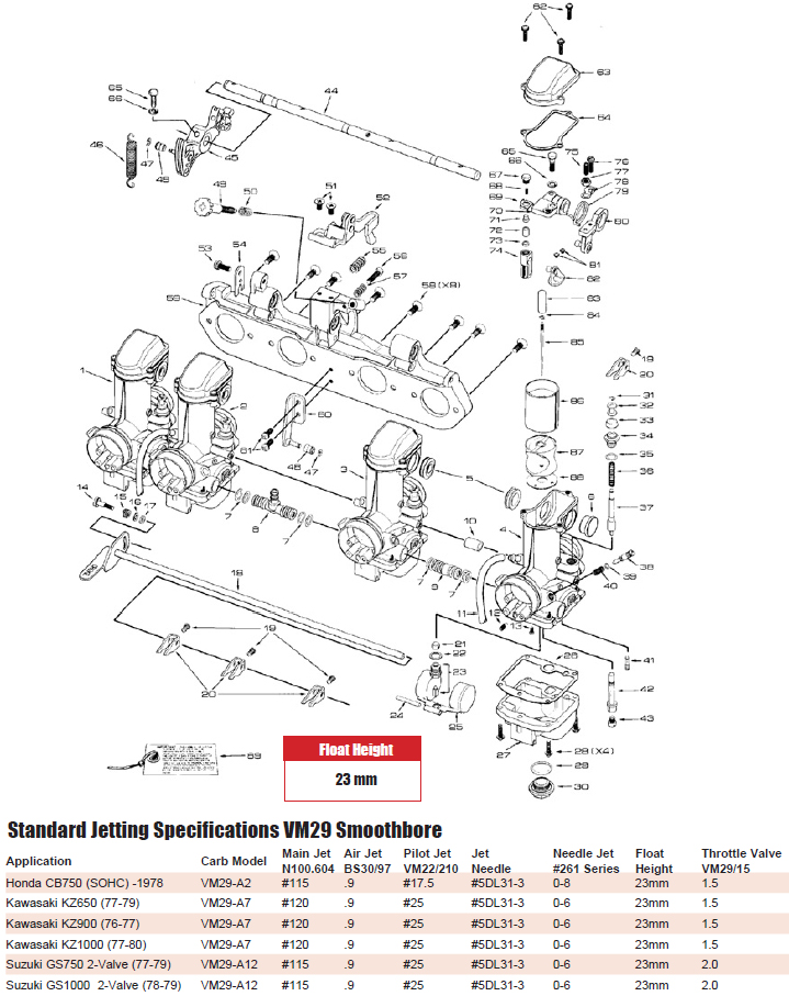 MIKUNI VM29 SMOOTHBORE CARB EXPLODED VIEW