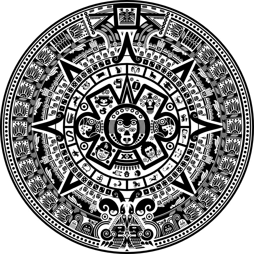 2012 End Of The World Countdown Based On Mayan Calendar Scott Partridge Commercial Art 1900 Mexican Aztec