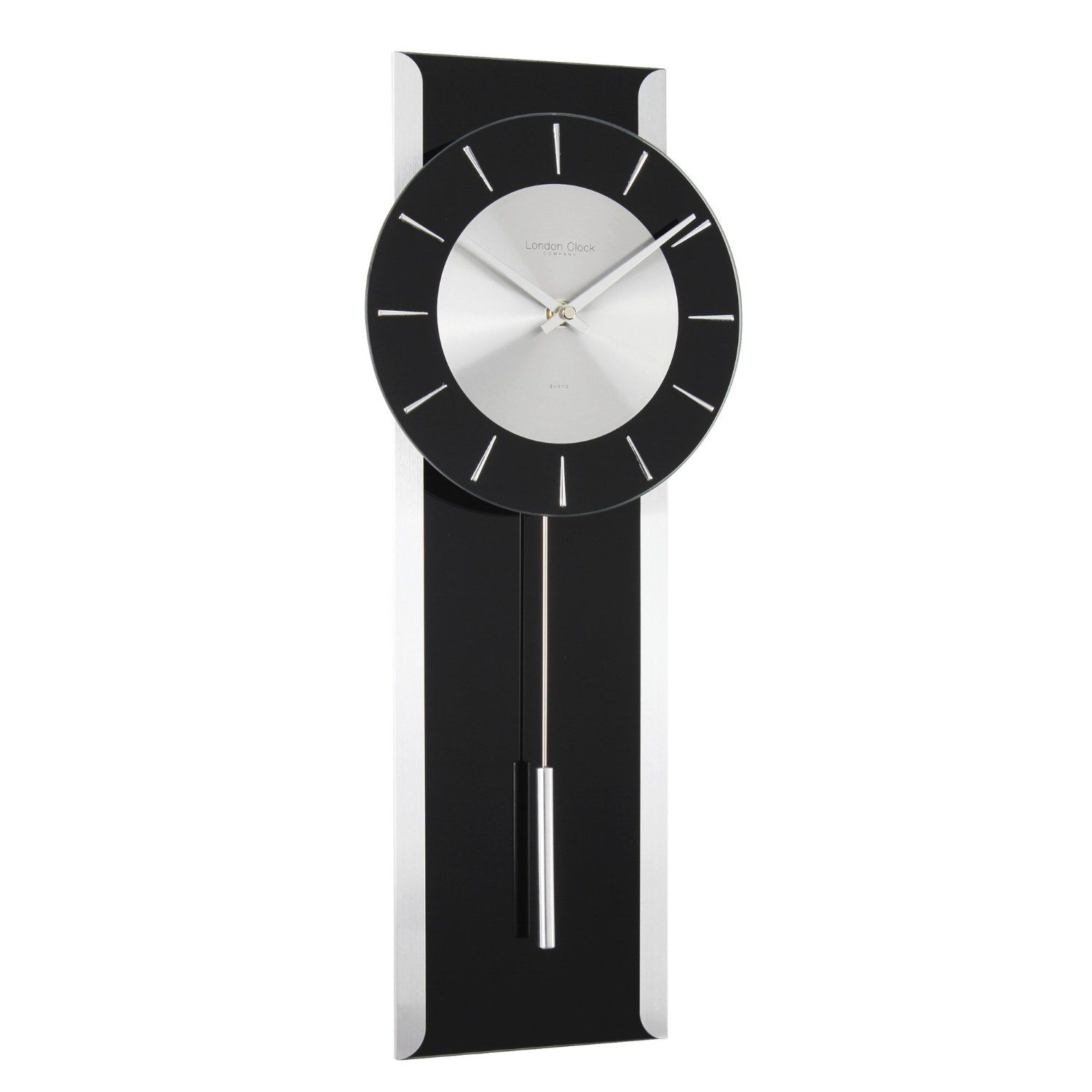 Black Modern Wall Clock London Clock Company 23128 Contemporary Black Glass
