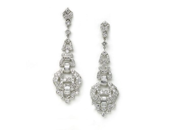 Art Deco Style Earrings Uk Art Deco Style Geometric Diamond Drop Earrings