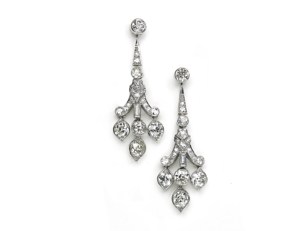 Art Deco Style Earrings Uk Art Deco Style Diamond Drop Earrings Platinum