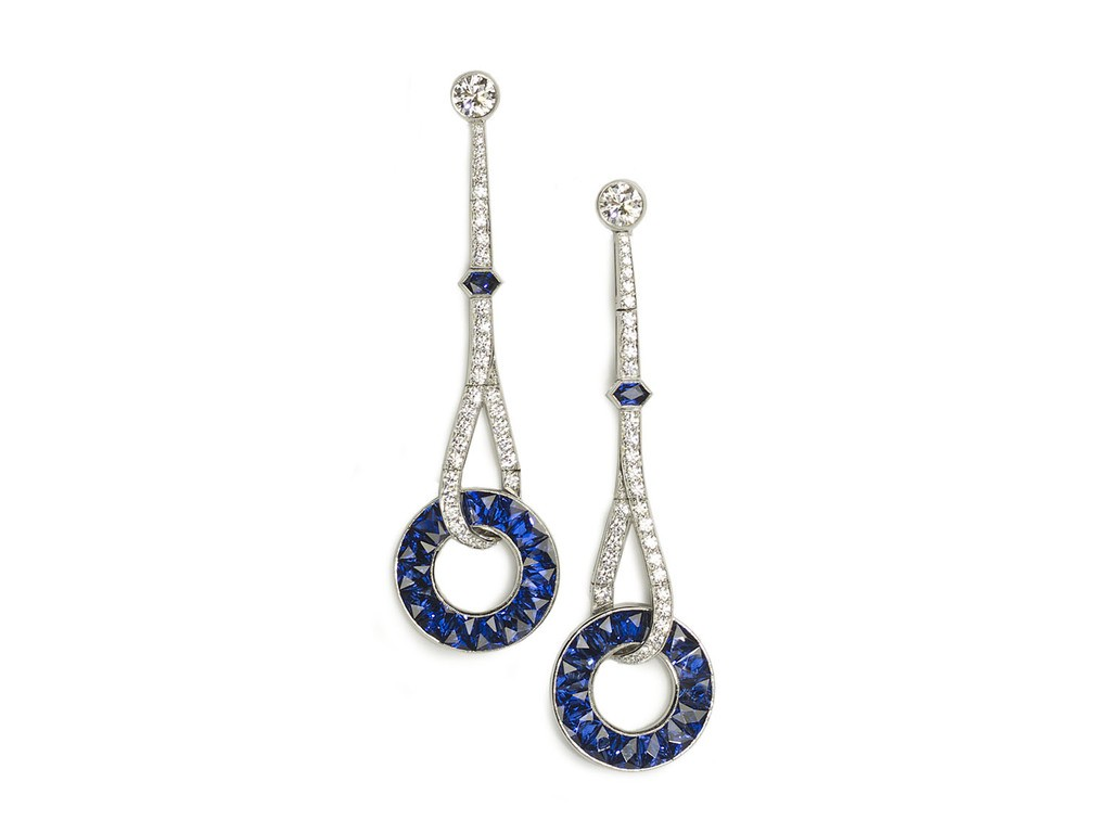 Art Deco Style Earrings Uk Art Deco Style Sapphire And Diamond Drop Earrings Platinum