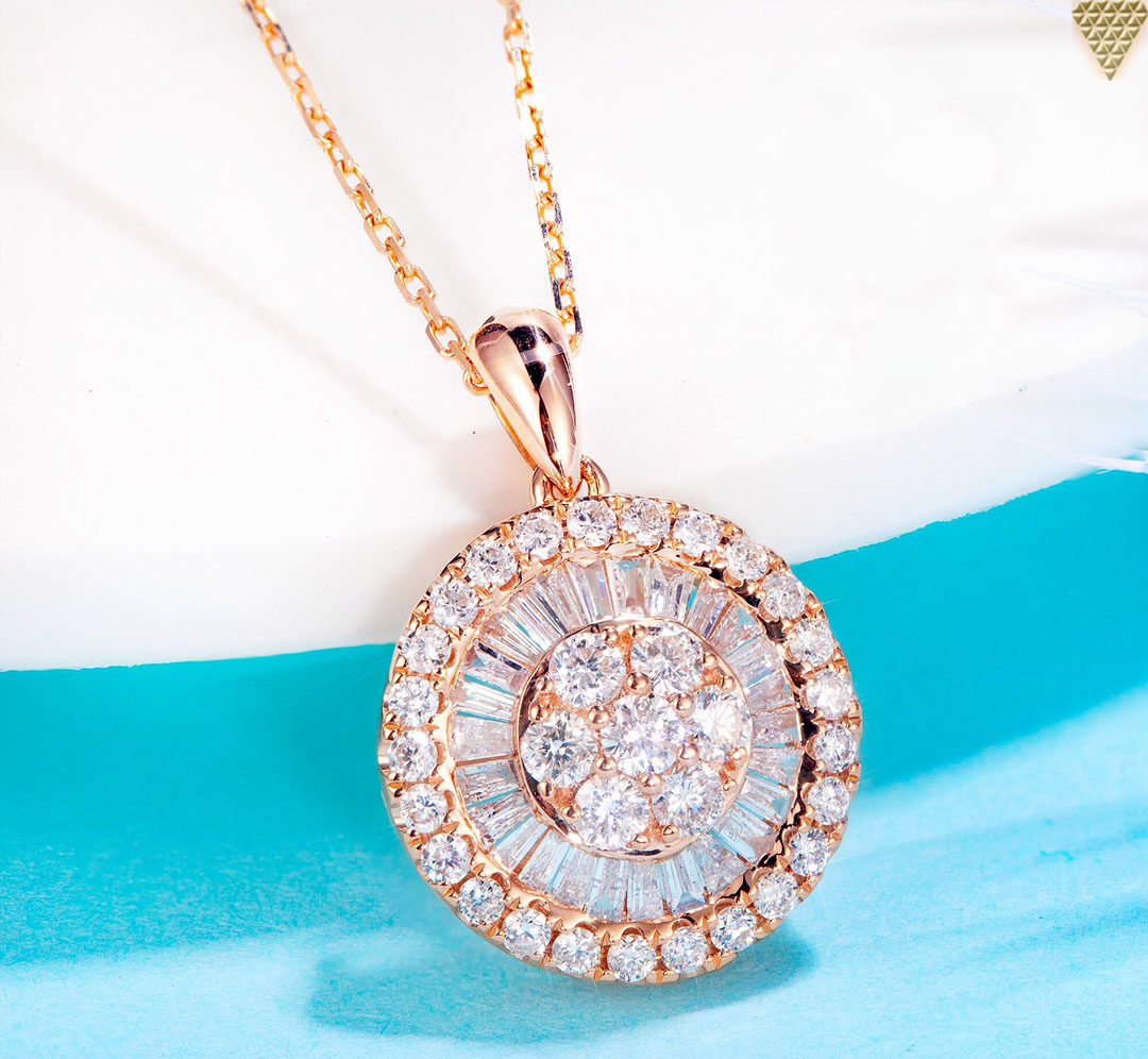 Wholesale Jewelry Japan 55 Ct F G Si1 18k Gold Classy Stunning Round Diamond Halo Necklace 2 30 Gram