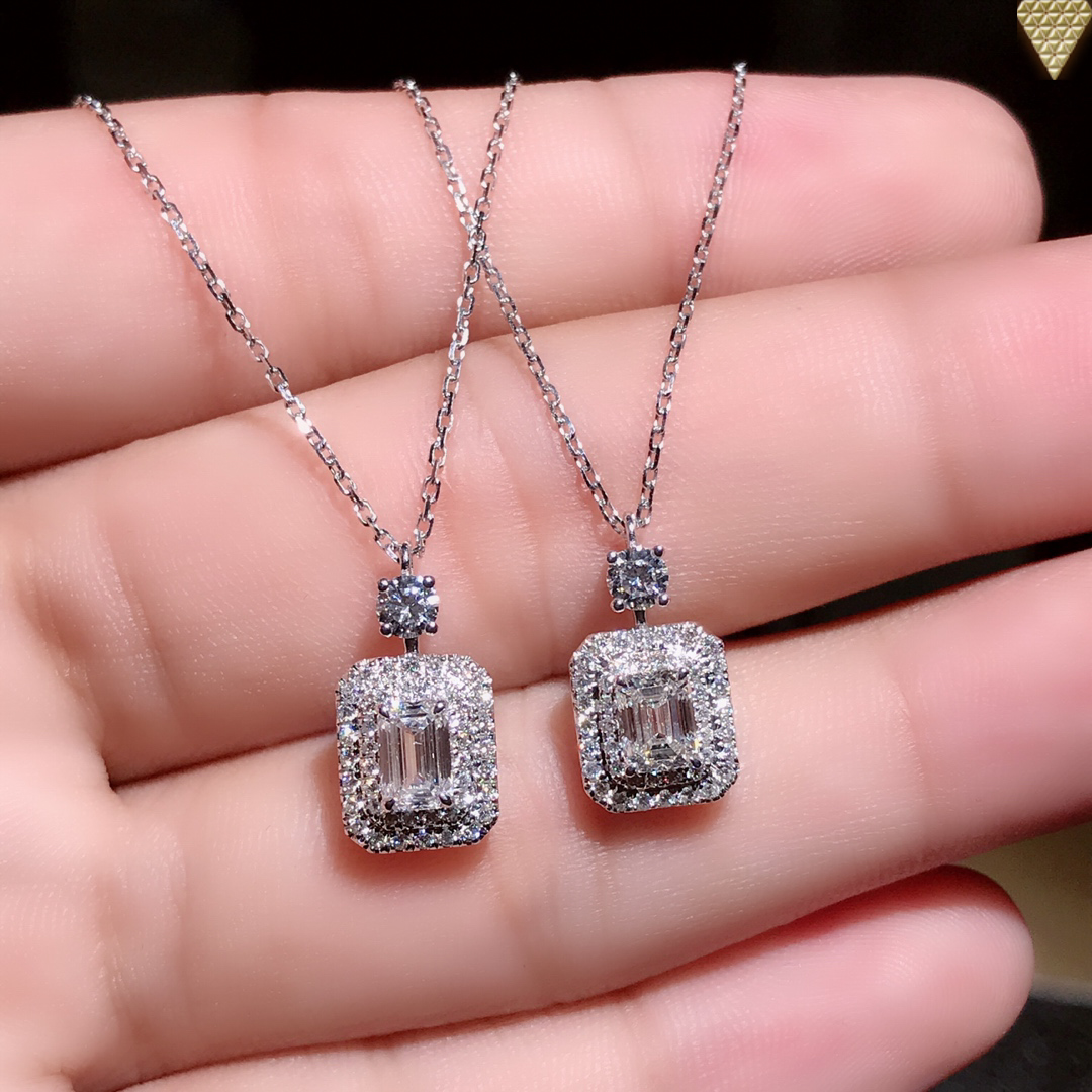 Wholesale Jewelry Japan 5 Ct D Si1 18k White Gold Gia Cushion Diamond Necklace Double Halo 2 70 G