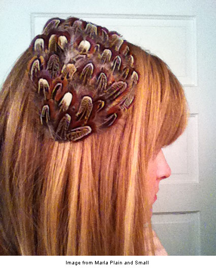 Feathered hairpiece from Marla