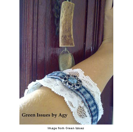 bangle made from old jeans