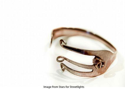 Stars for Streetlights bracelet made from a fork