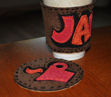 felt coaster and java sleeve