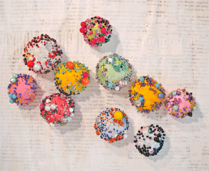 Beaded fabric beads from Alma Stoller