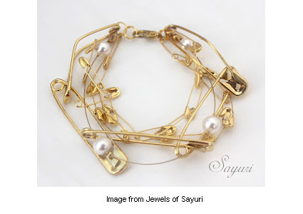 elegant safety pin jewelry from Jewels of Sayuri