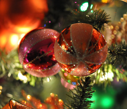 glittery ornaments in many colors