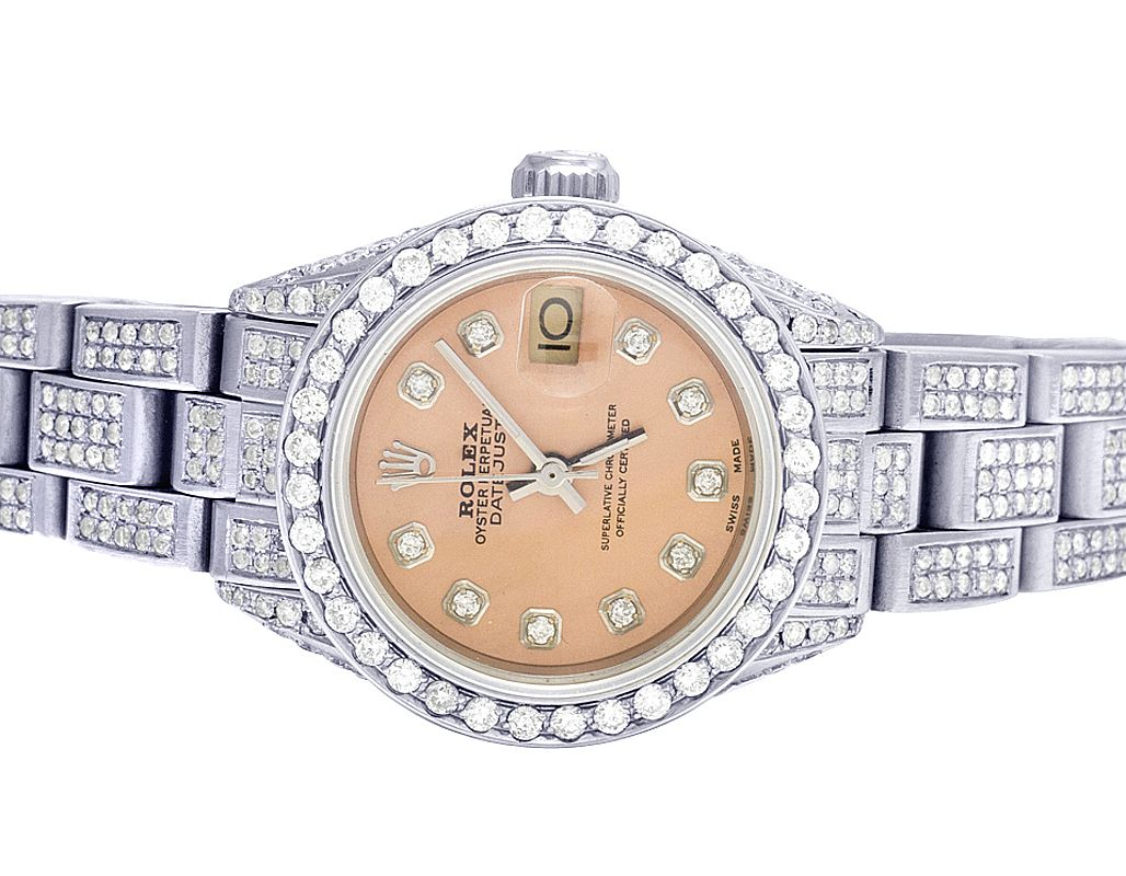 Rolex Ladies Watches Ladies Rolex Datejust 26mm Pink Dial Diamond Watch 9 75 Ct