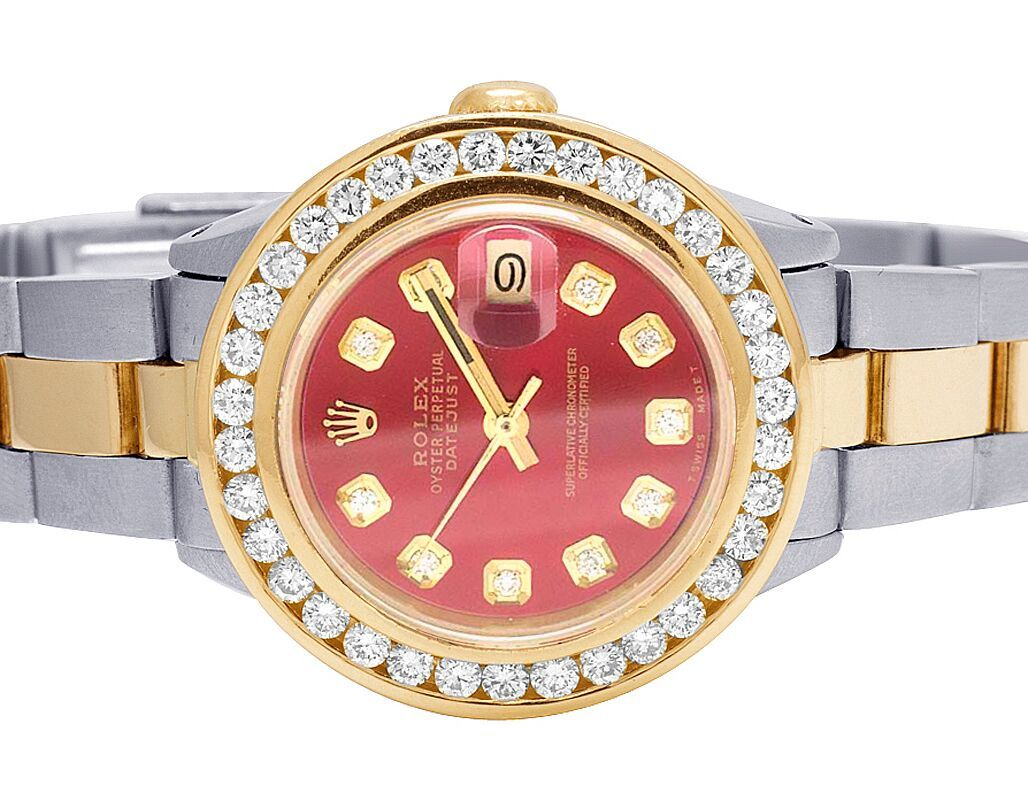 Rolex Ladies Watches Ladies Rolex Datejust 26mm 18k Steel Red Dial Diamond Watch 3 Ct