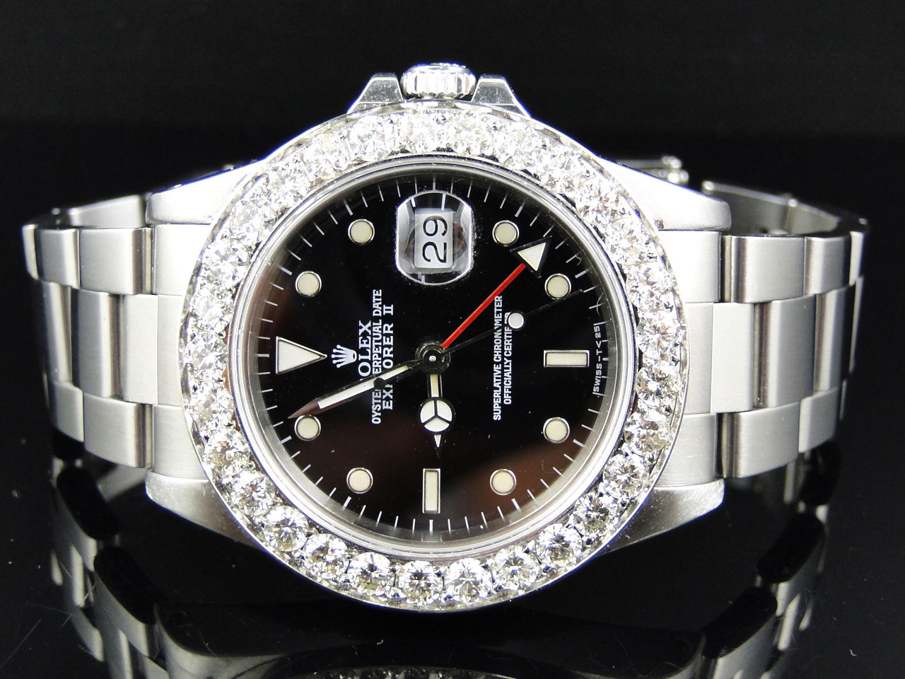 Rolex Explorer Details About Mens 40mm Stainless Steel Rolex Explorer Ii Black Dial Watch 6 Ct Diamond Bezel