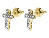 10k Yellow Gold Mens Ladies Pave Diamond Cross Religious