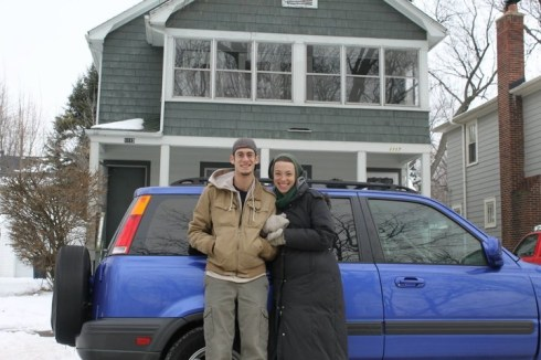 Outside our apartment in Ann Arbor (with Judy Blue!) the day we moved, December 2010