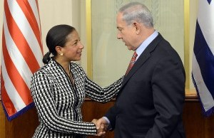 U.S. NSC adviser Susan Rice hanging with  Israeli PM Binyamin Netanyahu in May 2014