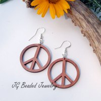 Peace Sign Wood Earrings - JG Beads