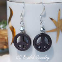 Black Peace Sign Earrings - JG Beads