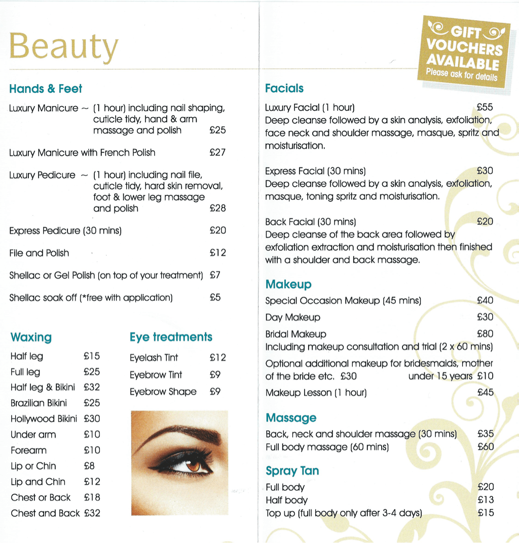 Beauty Salon Prices Beauty Prices J Harmony