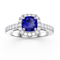 Princess Blue Sapphire and Diamond Cushion Cut Halo ...