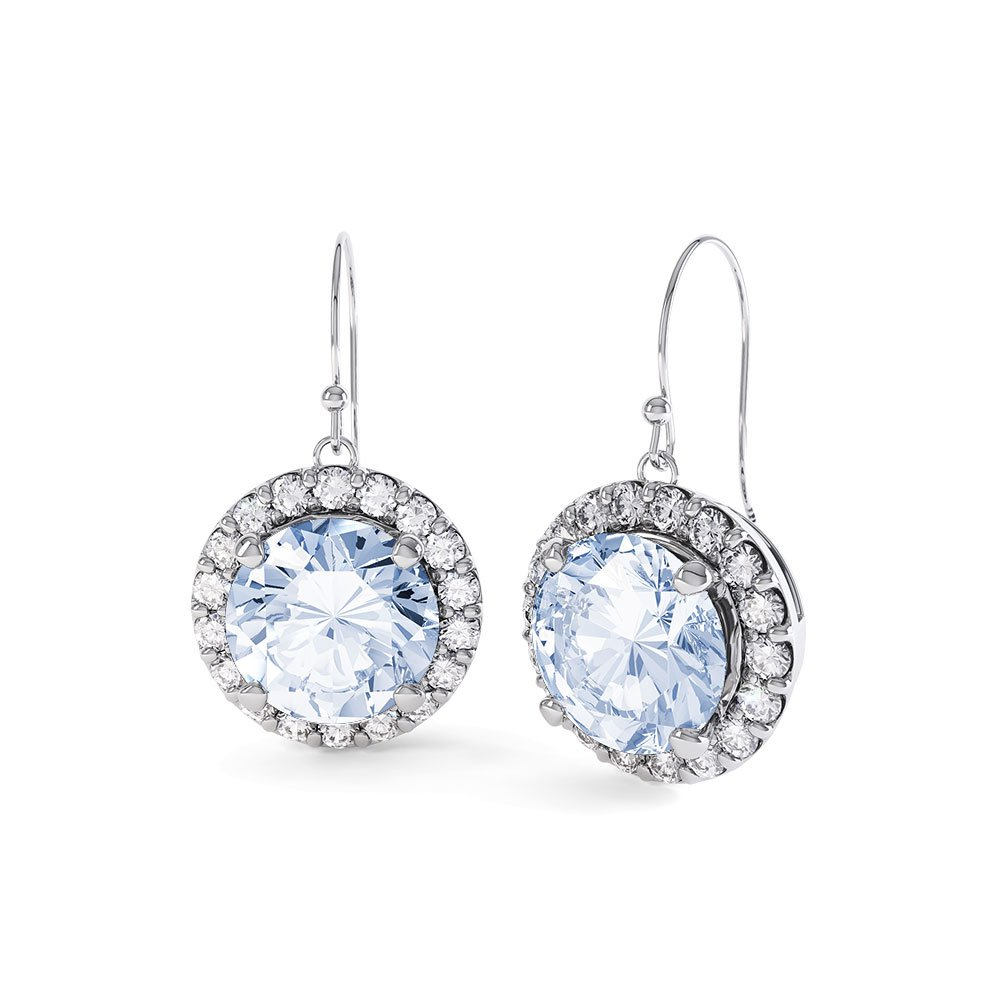 Halo Aquamarine and Diamond 18ct White Gold Drop Earrings