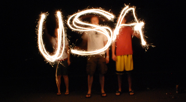 USA spelled out in sparklers