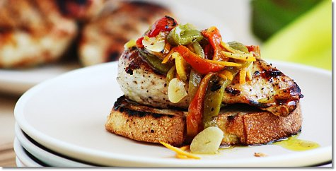 Grilled Chicken with Marinated Peppers