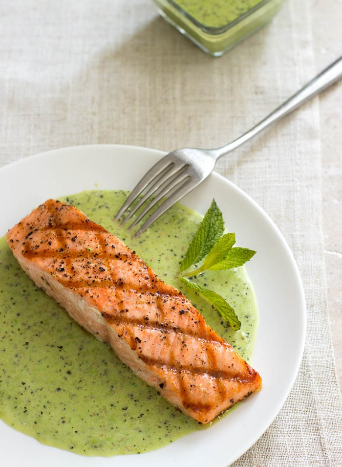 Grilled King Salmon with English Peas and Mint / JillHough.com