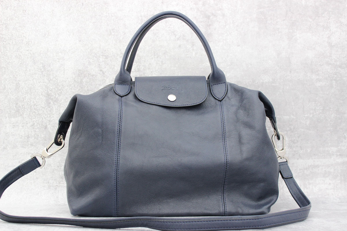 Leather Cuir Longchamp Le Pliage Cuir Navy Blue Leather Bag At Jill S Consignment