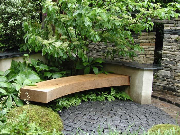 Floating oak curved bench Landscape Pinterest Sillas de jardín - jardines en terrazas