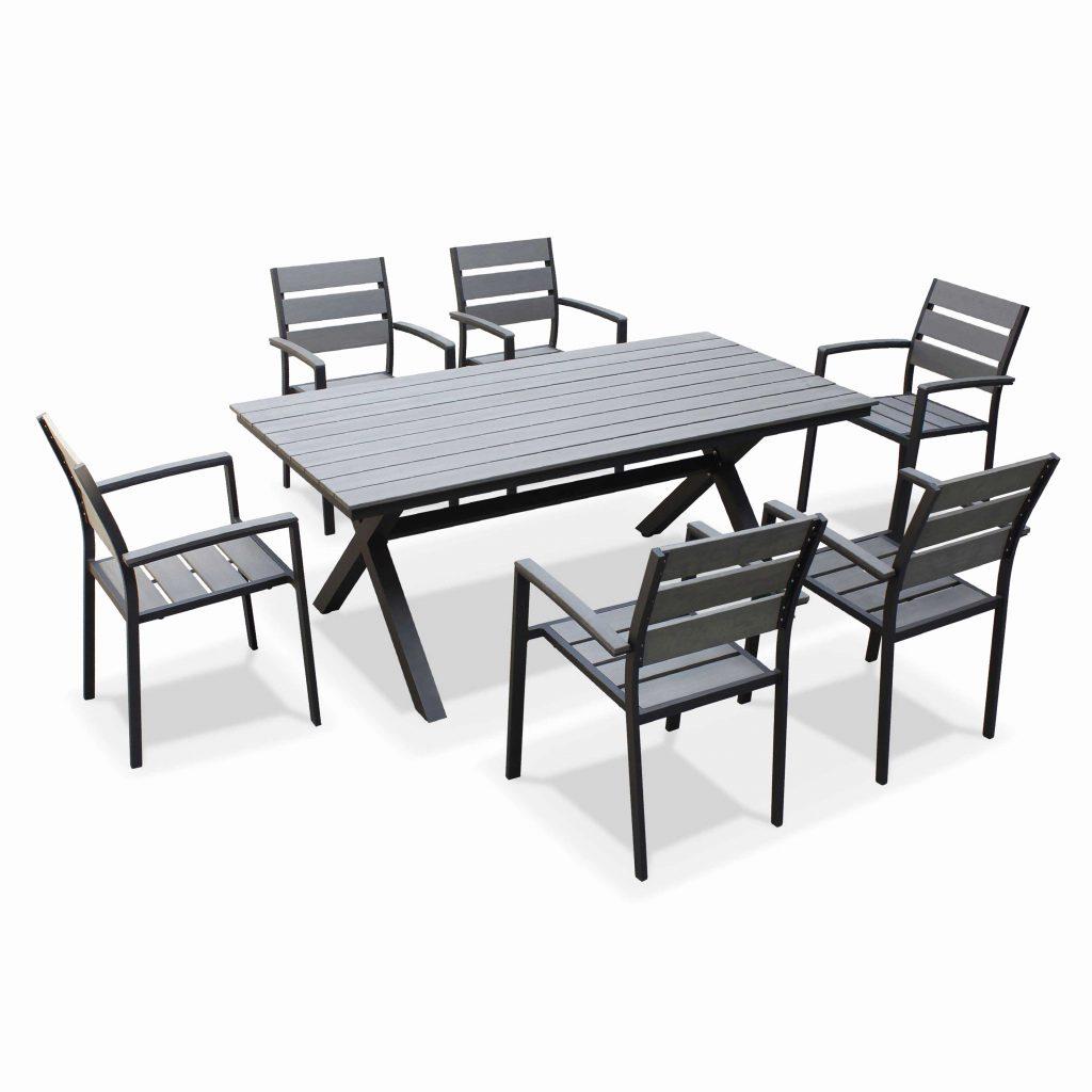 Salon De Jardin Aluminium Azua Noir Best Table Et Verre Hesperide