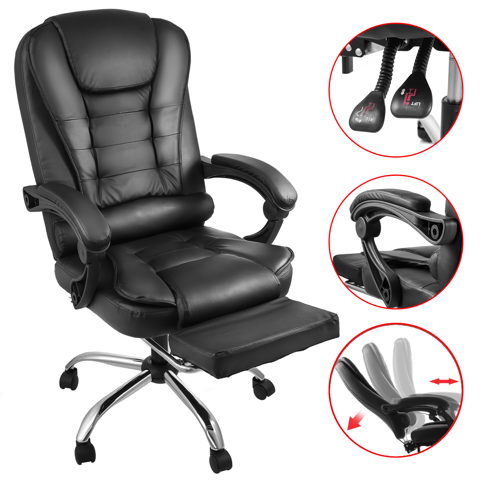 Chair Leather Reclining Swivel Details About Executive High Back Leather Reclining Office Chair Ergonomic Footrest Armchair