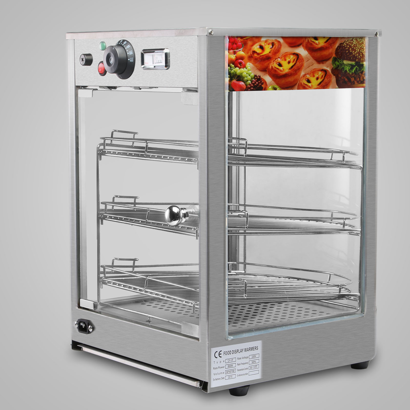 Countertop Pizza Warmer Heated Pizza Display Cabinet Food Warmer Countertop Glass