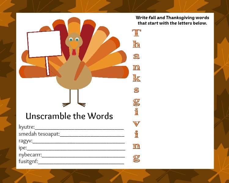 FREE Printable Thanksgiving Placemat with Activities - Jinxy Kids