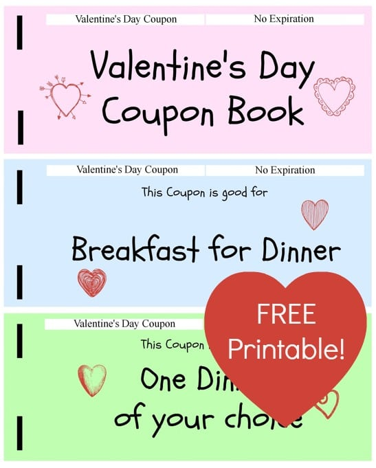FREE Printable Valentines Day Coupon Book for Kids - Jinxy Kids