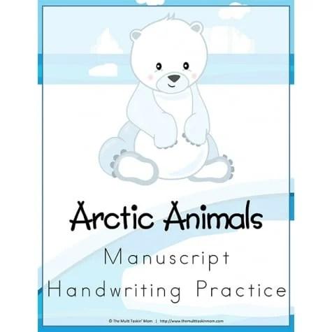 Printable Arctic Animals Handwriting Practice Worksheets - Jinxy Kids