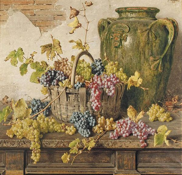 Giorgio_Lucchesi_-_A_basket_of_grapes_by_an_amphor_on_a_wooden_table,_1916