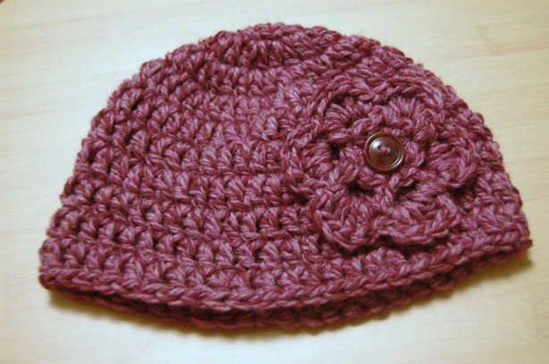 Child's Purple Crochet Hat with Flower