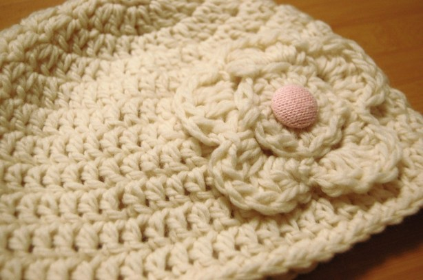 White Crochet Hat with FLower