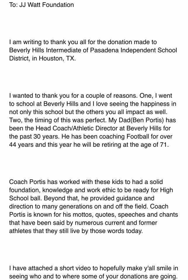 Houston, TX sends in their thank you for JJWF donation