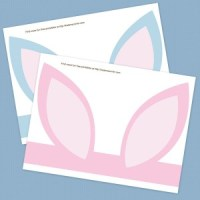Free printable bunny ears in blue and pink from Kaden's Corner